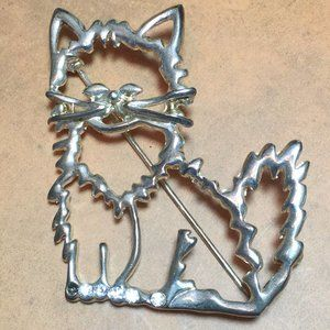 Vintage Kitty Cat Outline Jeweled Pin Brooch